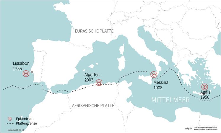 Mittelmeer Karte.Tsunamigefährdete Regionen Im Mittelmeerraum Eskp