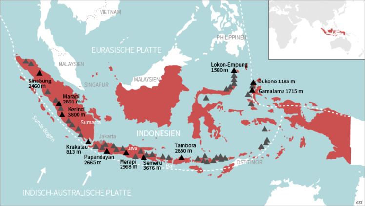 Indonesien Karte.Forschungsthema Naturgefahren In Indonesien Eskp