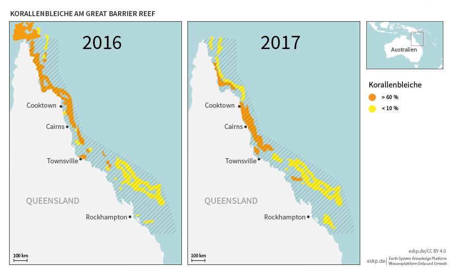 Great Barrier Reef Karte.Korallenbleiche Vor Australien Eskp